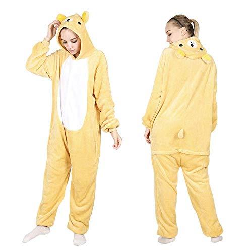 Cartoon Kostüme Alle in einem Winter-warmen Pyjama Cartoon Onesies One Piece Kapuze Nachtwäsche Tier Pyjama for Frauen (Farbe: Rilakkuma Onesies, Größe: S) (Color : Rilakkuma Onesies, Size : Small)
