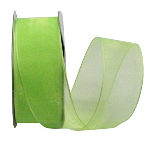 Sheer Organza Wired Ribbon by Ribbon Bazaar - 100% Polyester Wire Edged Ribbon For Floral Decor, Table Arrangements, Apparel Embellishment & More - Assorted Sizes & Colors (1-1/2 inch Apple Green 25 Yards)