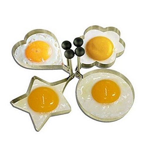 haoyishang 4-style de haute qualité en acier inoxydable Anneaux Omelette Oeuf Pancake moule rond outil de cuisine pour enfants et les amoureux (Lot de 4 fleurs rond shape-heart Star forme)