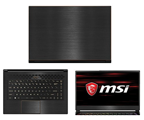Decalrus - Protective Decal for MSI GS65 Stealth Thin 8RF (15.6' Screen) Laptop Black Texture Brushed Aluminum Skin case Cover wrap BAmsiGS65stealthTHINBack