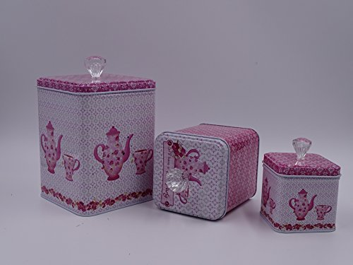 Beautiful Pink & White Set Of 3 Cookie Storage Tins, Shabby Chic, With Floral Design and Crystal Knobs …