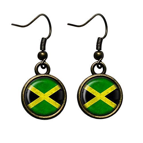 Jamaica Jamaican Flag Jamaikanische Flagge Antike Bronze Ohrringe