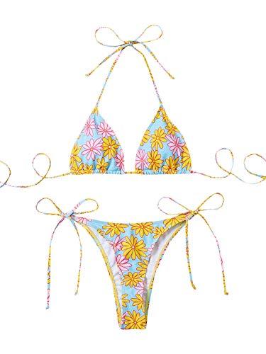 SweatyRocks Women's Sexy Bathing Suits Halter Bikini Top Tie Dye Two Piece Swimsuits Floral S