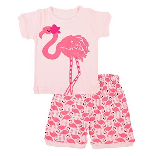 EULLA Mädchen Schlafanzug Kurz Einhorn Kinder Baumwolle Pyjama Schlafanzug Hosen Oberteile, 4-flamingo, 116/Herstellergröße:140