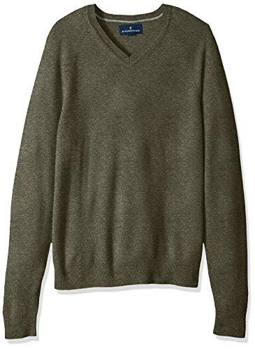 Amazon Brand - Buttoned Down Men's 100% Premium Cashmere V-Neck Sweater, Olive, X-Small