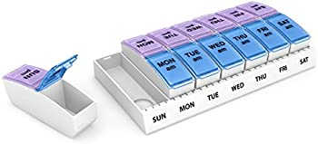 Ezy Dose Weekly AM/PM Travel Pill Organizer and Planner