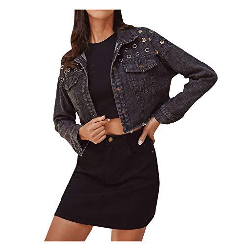 BRISEZZ jeansjas dames kort, mantel dames winter, mode dames denim lange mouwen knoop jack vrije tijd mantel geniete lange mouwen jas