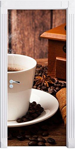 Stil.Zeit Möbel heißer aufgebrühter Kaffee als Türtapete, Format: 200x90cm, Türbild, Türaufkleber, Tür Deko, Türsticker