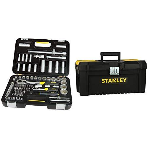 STANLEY 1-94-668 Juego de llaves de vaso de 96 piezas, tamaño 1/2 y 1/4%22 + STST1-75518 Caja de herramientas de plastico con cierre metálico, 20 x 19.5 x 41 cm