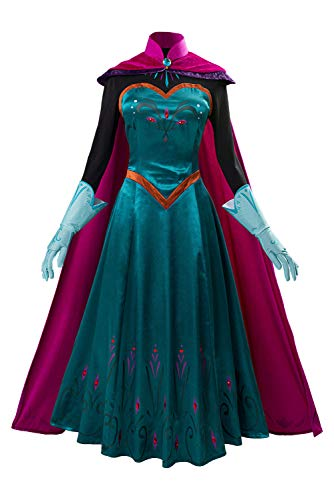 MIGHTYCOS Adult Kids Elsa 2 Costume Dress Halloween Cosplay Queen Princess Fancy Gown Outfit (XL, Teal)