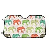 FAVIBES Elefantes africanos Sombrilla, Parabrisas Sombrilla Sombrillas Mantenga el vehículo Fresco Proteja su automóvil del Calor y el Resplandor Solar Mejor Protector de Visera de Rayos UV Tamaño S