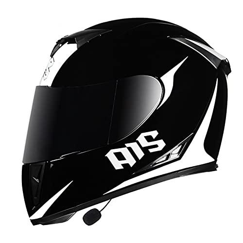 Bluetooth Casco Moto Hombre Mujer, Casco de Motocicleta con Doble Visera para Motocicleta Scooter, ECE Homologado Casco de Moto Integrado para Adultos (Color : G, Size : XL(61-62CM))
