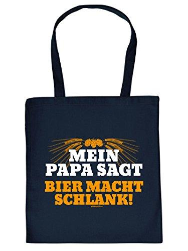 Hammer coole Geschenktasche für Biertrinker - Mein Papa sagt Bier macht schlank - Sprüche Einkaufstasche für echt harte Kerle Bierliebhaber Party