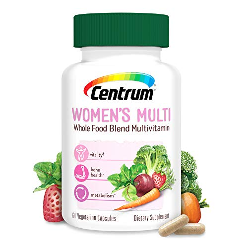 Centrum Whole Food Multivitamin for Women,with Vitamin C, Vitamin D, Zinc, Vegetarian + Gluten Free, Dietary Supplement, 30 Day Supply (60 Capsules)