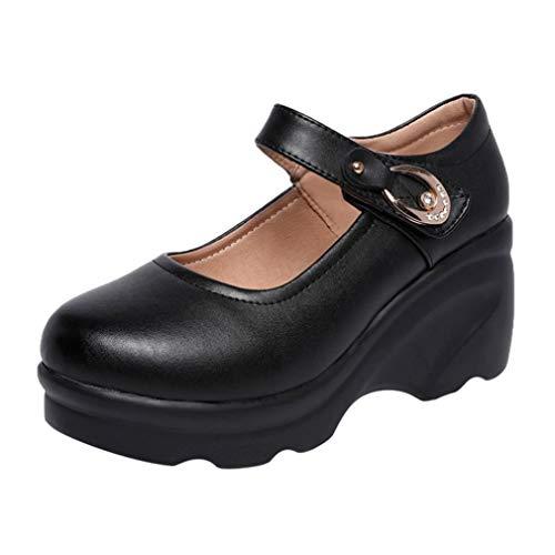 Damen Plateau Wedges Mary Jane Schuhe Round Toe Knöchelriemen Pumps Klassiker Dicker Po Muffin Schuhe Casual Office High Heels