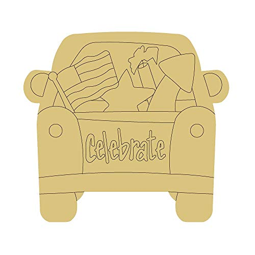 Truck Design by Lines Cutout Unfinished Wood 4th of July Memorial Day Door Hanger MDF Shape Canvas...