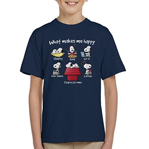 Snoopy Staying at Home Makes Me Happy Kid\'s T-Shirt