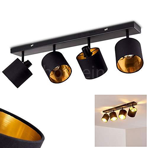 Deckenleuchte Alsen, Deckenlampe aus Metall/Stoff in Schwarz/Gold, 4-flammig, mit verstellbaren Strahlern, 4 x E14 max. 28 Watt, Spot mit Stoff-Schirmen im Retro/Vintage Design, LED geeignet