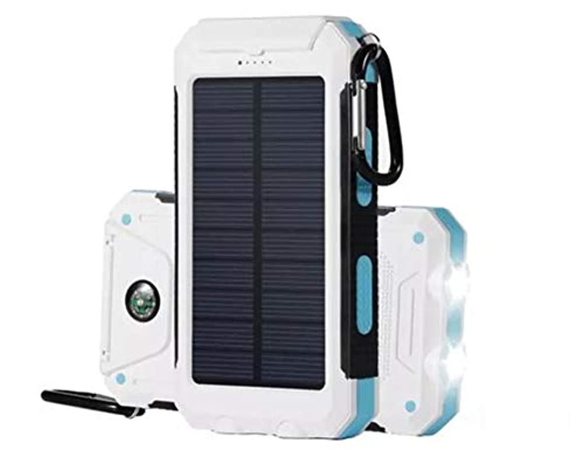 Solar Chargers 30,000mAh, Dualpow Portable Dual USB Solar Battery Charger External Battery Pack Phone Charger Power Bank with Flashlight for Smartphones Tablet (White/Light Blue)