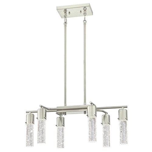 Westinghouse 6329800 Cava Six LED Indoor Chandelier, Brushed Nickel Finish with Bubble Glass, 6 Light