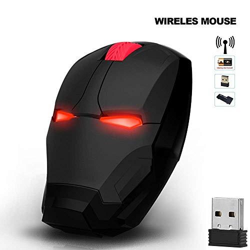 Mouse da gioco ergonomico senza fili, LED ottico 2.4 G, mouse Iron Man con nano ricevitore USB, 3 DPI regolabile, compatibile con PC Laptop Notebook USB mouse wireless