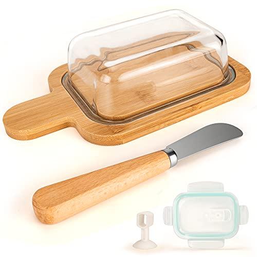 TRAORM Beurrier en verre avec couvercle en bambou pour beurre, bol à beurre, cloche à fromage avec vaisselle en bambou, couteau à beurre, couvercle fraîcheur pour la maison et la cuisine