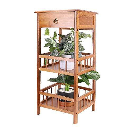 UKMASTER Mesita de Noche de Bambú Mesa Auxiliar con Cajón Mesita de Noche para Dormitorio Salón y Pasillo, de 3 Niveles, 30x30x78cm