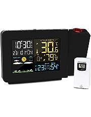 digital projektion väckarklocka projektion väckarklocka med projektion projektorklocka i taket med temperaturvisning två larm gånger snooze färgad belysning väderprognos
