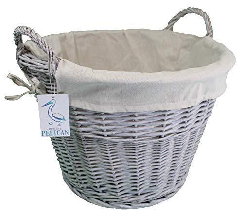 Cesta de mimbre redonda grande de color gris. Forro lavable. Solución de almacenamiento elegante. Ordena tu hogar. Ropa de cama, ropa de cama, juguetes, zapatos y troncos.
