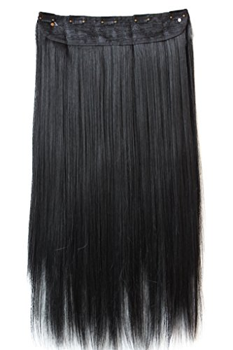 PRETTYSHOP 60cm Clip In Extensions Haarverlängerung Haarteil Glatt Schwarz C51