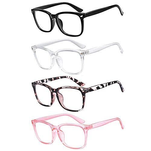 Blue Light Blocking Glasses Square Nerd Eyeglasses Frame Anti Blue Ray Computer Glasses Non Prescription (Leopard+Black+Transparent+Clear Pink)