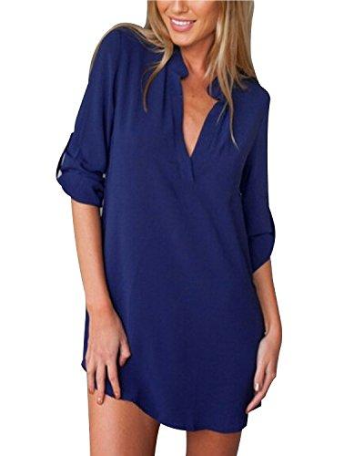ZANZEA Damen V-Ausschnitt Chiffon Langarm Slim Oversize T-Shirt Bluse Lose Tops Blau EU 50/US 18