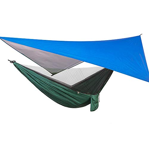 Camping Hammock with Mosquito Net & Rainfly Tent & Tree Straps, 200kg Load Capacity Double Tree Nylon Hammock with Storage Bag for Camping Hiking Backyard Travel Outdoor Backpack (With Blue Tent)