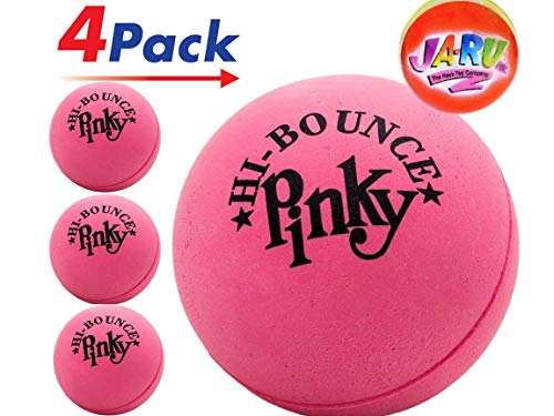 Pinky Ball (Pack of 4) Hi Bounce Original Pink Ball for Kids and Adults 2.5' Large Pink Rubber Massage Ball Super Balls by JA-RU. Plus 1 Small Bouncy Ball. Item #976-4p