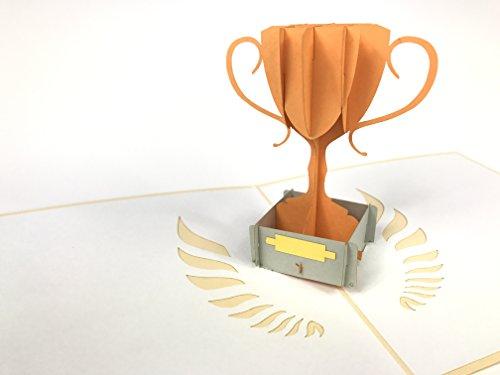3D-Grußkarte mit Pokal zur Gratulation, lasergeschnitten, handgefertigt, Pop-Up-Karte, inkl. Umschlag 2035