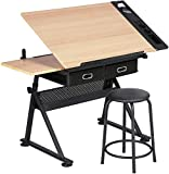 YZG LIFE Drafting Table, Height Adjustable Wooden Drawing Table Art Craft Desk with Stool, 0-75° Tiltable Tabletop w/Storage Drawer, Trays, Pen Holder for Reading, Writing, Drawing, Work Station