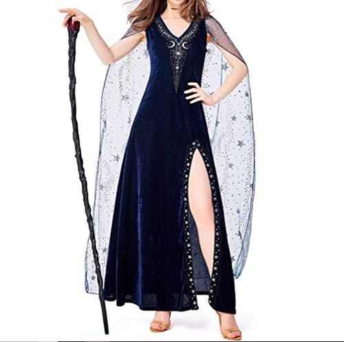 Mitef Disfraz de Halloween para mujer, disfraz de diosa estrellada azul, disfraz de Halloween, azul, XL