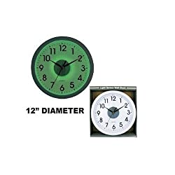JUMBL&trade Wall Clock With Light Sensor Black and White 12
