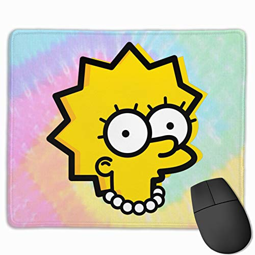 Lisa Simpson Computer Mouse Pad with Non-Slip Rubber Base Stitched Edges for Work & Gaming, Computers Laptop Office & Home