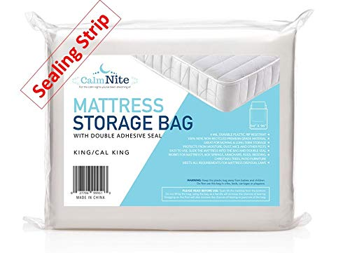 Extra Thick Mattress Storage Bags with Adhesive Seal for Moving and Storing – Clear 4 MIL Plastic - Protects...