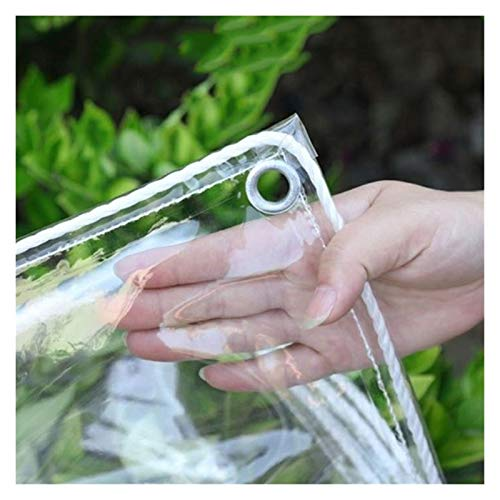 LSXIAO Heavy Duty Pvc Tarps, Transparent Tarpaulin, 100% Waterproof Dust-proof Holes on 4 Sides and Corners Used in Greenhouses, Car Shed, House Decoration (Color : Clear, Size : 2.4x6m)