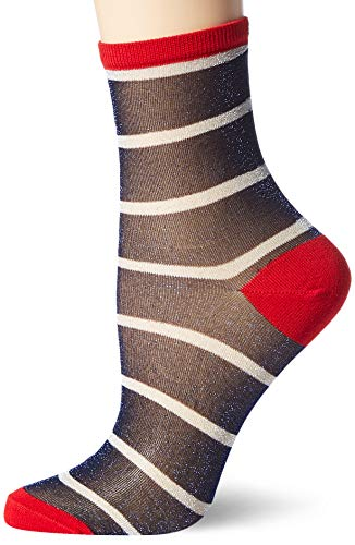 Tommy Hilfiger Womens Translucent Stripe Women's Short (1 Pack) Socks, red/Blue, 39/42