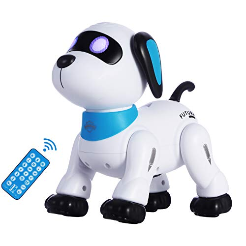 Remote Control Robot Dog Toy, Programmable Interactive & Smart Dancing Robots for Kids 5 and up, RC Stunt Toy Dog with Sound LED Eyes, Electronic Pets Toys Robotic Dogs for Kids Gifts