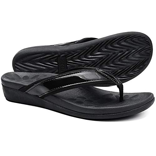 Comfortable Orthopeic Flip Flops for Women, Best Plantar Fasciitis Sandals for Flat Feet with Arch Support, Thong Sandals for walking Beach. black size 10
