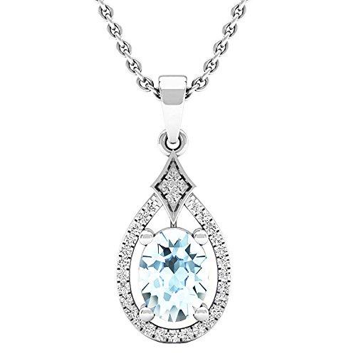 10K Blanco Oro 8x 6mm Oval Gemstone & Round Diamante Señoras Colgante (cadena de plata incluidas)