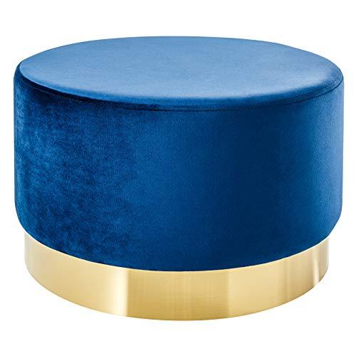 Riess Ambiente Eleganter Couchtisch MODERN BAROCK Samt blau Gold Hocker Sitzhocker Fußhocker Tisch Wohnzimmertisch Samtbezug Samtstoff