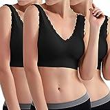Libella Pack de 3 Sujetador Deportivo sin Costuras de 3 Piezas Sujetador de Yoga con Almohadillas Removibles para Mujeres Ultra-Lift de Komfort- BH Negro 3747 2XL/3XL