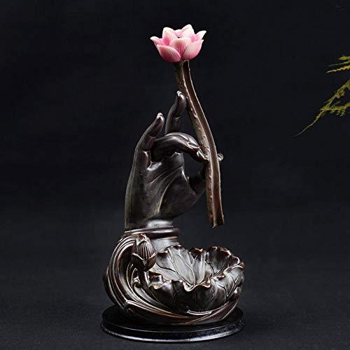 TaoRan Backflow wierook brander grote bergamot lotus keramische creatieve antieke agarwood toren wierook brander thee ceremonie sandelhout oven slinger