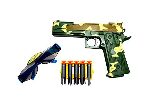 TOYMANIA Amazing FIRE Power Toy Gun for Kids.   with 5 Soft Bullets and Goggles. (Green Color)