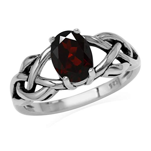 Silvershake 1.4ct. 8X6mm Natural Oval Shape Garnet 925 Sterling Silver Celtic Knot Solitaire Ring Size 8